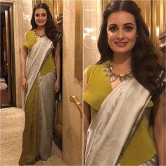 Image may contain: 2 people, people standing Saree Gown, Lehnga Dress, Lehenga Blouse, Sari, Drape Sarees, Saree Draping Styles, Saree Blouse Designs, Dress Designs, Party Sarees
