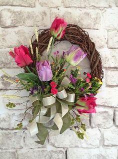Spring Tulip Wreath Spring Wreath Silk Floral by AdorabellaWreaths
