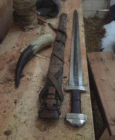 """The Sword Called Draugr. #9thcenturycustom #vikingsverd #viking #vikingsword #alehorn #draugarvinlands"""