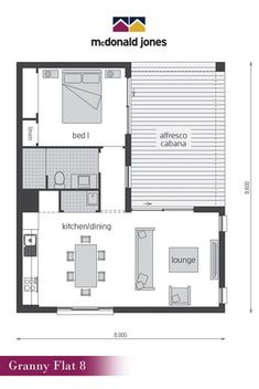 floor plan: Granny Flat 8 Floor Plan by McDonald Jones - This . floor plan: Granny Flat 8 Floor Plan by McDonald Jones - This . Studio Floor Plans, Small House Floor Plans, Small Tiny House, Small House Design, Bungalow Floor Plans, L Shaped House Plans, L Shaped Tiny House, Granny Flat Plans, Apartment Floor Plans