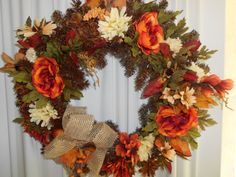 Fall Wreath with Bulap Bow by AngelasAntics on Etsy, $55.00