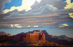Sweeping Clouds - by Ed Mell  >  I find most of Ed Mell's work a bit to angular for me. It certainly makes for very distinctive work, but it's just a bit jarring.  While I like graphic images, symmetry and balance are more my style.  In this painting, however, the strong lines are more muted and the features more blended.  I like this piece...nice lighting as well on both the clouds and the mountains.