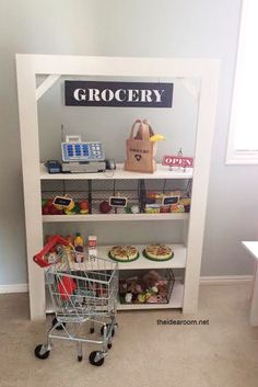 DIY Kid's Grocery Stand. Cute DIY grocery store for the kids to play with! DIY Kid's Grocery Stand. Play Spaces, Kid Spaces, Play Areas, Kids Grocery Store, Old Bookshelves, Diy Kid Bookshelf, Home Daycare, Toy Rooms, Pretend Play