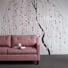 Beautiful romantic wall art in the form of a cherry blossom tree wall decal. Love!