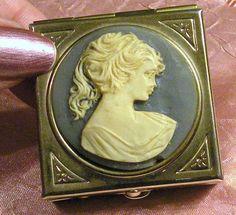 Vintage Pill Box Cameo Trinket Box  Cream on by RosePetalResources, $40.00