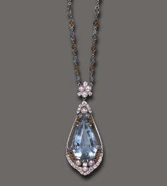 Edwardian. Platinum, Gold, Aquamarine, Pearl and Diamond Necklace, Louis Comfort Tiffany, c1915.
