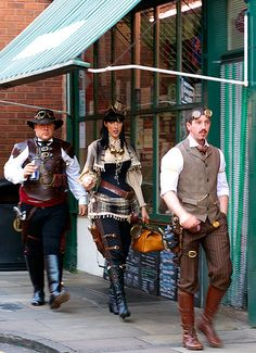 Steampunk fashion on the streets, how awesome it is to go walking around town looking like this trio!