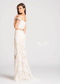 5ee9976e874 Two-Piece Off-The-Shoulder Allover Lace Sheath Prom Dress- EW118059