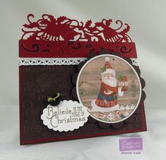 By: Kendra Wietstock for Crafter's Companion.  Die'sire Fancy Christmas Edge'ables - Holly Bells Candy Red Shimmer Paper Nordic Christmas CD-ROM image Stamp set: Vintage Christmas - Home for Christmas Embossing Folder: Nordic Christmas - Christmas Time Die'sire Essentials - Scallop Circiles; Scallop Ovals; Circles #crafterscompanion