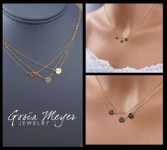 Triple Layered Initial Necklace,- great Xmas or birthday or Mother's Day gift for me @Corey Reece perez