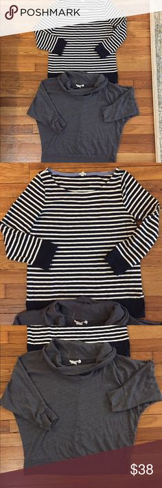 Bundle of tops! Jcrew and Velvet brand. Two cute tops size medium. Navy blue and white striped jcrew 3/4 sleeve. Grey comfy cowl neck top 3/4 sleeves. No stains, tears, holes or smells. J. Crew Tops Tees - Long Sleeve