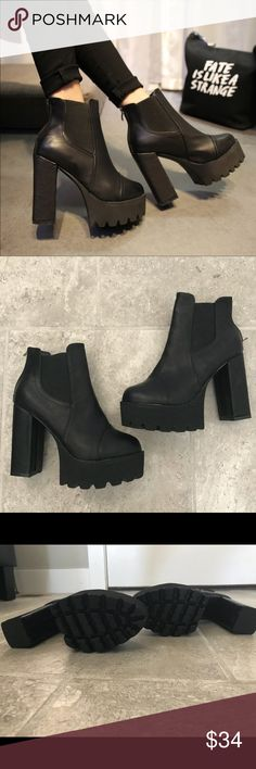 """Chunky Platform Heel Chelsea Boots,  Chunky Platform Heel Chelsea Boots, Brand New And Never Worn! Super Cool And A Fashion Statement! Could Fit A Size 6.5. Approx 4 1/2"""" Heel.   Bundle 2+ Items For 15% Off Same or Next Day Shipping  Smoke Free Home ❌No Trades Shoes Ankle Boots & Booties"""