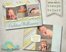 Baby Announcement PHOTOSHOP TEMPLATE - Baby Boy Dream