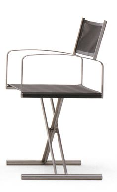 Fellini director chair by Coro - Italy. Marine grade stainless steel, with seat and back in Batyline in a range of colour finishes.
