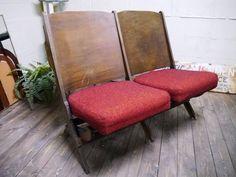 Chair アメリカアンティーク教会の椅子40年代シアターチェア映画イス2 インテリア 雑貨 家具 Antique ¥38800yen 〆05月20日