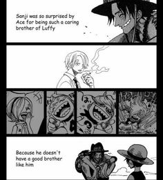 Sanji was so surprised of Ace for being such a caring brother of Luffy, because he doesn't have a good brother like him, text, sad, comic, Ace, Luffy, Sanji, Vinsmoke siblings, Reiju, Ichiji, Niji, Yonji; One Piece