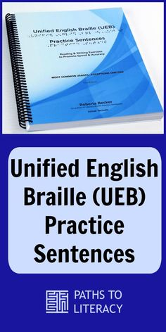 This book of Unified English Braille (UEB) practice sentences is a useful tool for teaching UEB contractions.