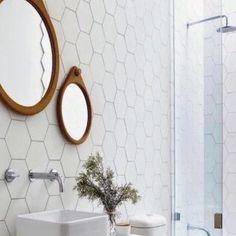 Hexagon wit mat wand- en vloertegel x 20 cm per Laundry In Bathroom, Small Bathroom, Master Bathroom, Bathroom Ideas, Vanity Room, Small Cafe, Bathroom Organization, Bathroom Inspiration, Home Kitchens