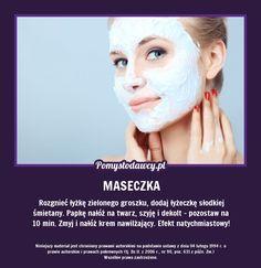 Rozgnieć łyżkę zielonego groszku, dodaj łyżeczkę słodkiej śmietany. Papkę nałóż na twarz, szyję i dekolt - pozostaw na 10 min. Zmyj i nałóż krem nawilżający. Efekt natychmiastowy! Face Care, Hair Makeup, Remedies, Make Up, Healthy, Bonsai, Diy, Ideas, Wax