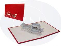 Unsere Hochzeitskarte mit Hochzeitskutsche. Mehr entdecken auf: www.lin-popupkarten.de