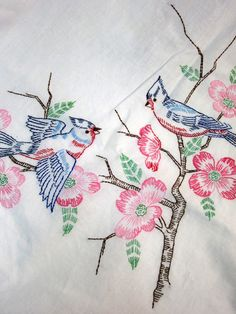 vintage linen embroidered blue bird table cloth...on Etsy