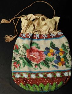 Antique Handmade Empire Period Womans Beaded Drawstring Purse