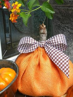 Three Pixie Lane: orange burlap pumpkin with a gingham bow Burlap Pumpkins, Fabric Pumpkins, Fall Pumpkins, Fall Halloween, Halloween Crafts, Halloween Decorations, Fall Decorations, Halloween Stuff, Halloween Ideas