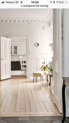 - New home Real Wood Floors, Pine Floors, Wood Flooring, Stockholm Apartment, Parisian Apartment, White Rooms, White Walls, Interior Paint, Interior Decorating