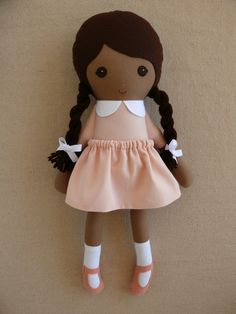Fabric Doll Rag Doll Dark Haired Girl with Braids in Pink Dress
