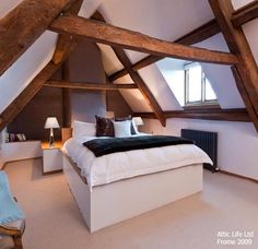 Finishing your attic into an additional living space will increase the value of your home. Attic Renovation, Attic Remodel, Attic Spaces, Attic Rooms, Loft Room, Bedroom Loft, Loft Conversion Bedroom, Attic Conversion, Attic Bedroom Designs