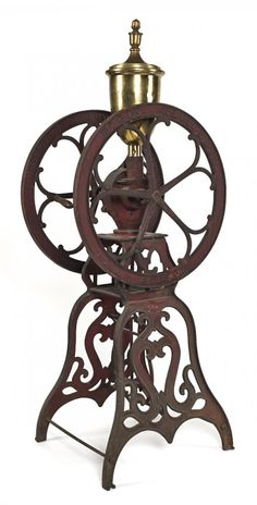 Elgin National cast iron floor standing coffee mill.