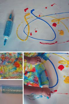 Bubble Wrap Roller Painting - My Bored Toddler