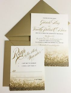 4471 best wedding invitations paper suite images on pinterest in new years eve wedding invitation gold with glittery design stopboris Choice Image