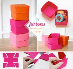 diy felt boxes - I needed a box idea to hold those homemade play tea bags! Thanks Le Leu Le Leu Ensunsa! Felt Diy, Felt Crafts, Diy And Crafts, Crafts For Kids, Arts And Crafts, Diy Craft Projects, Origami, Diy Rangement, General Crafts