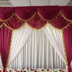 New arrival Wine Red Ice Silk Cheap Wedding Backdrop With Gold Tassel . New arrival Wine Red Ice Silk Cheap Wedding Backdrop With Gold Tassel Swag and Drape Backdrop Stage Decoration.