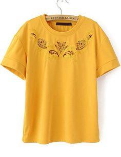 Yellow Short Sleeve Hollow Swan T-Shirt EUR€14.77