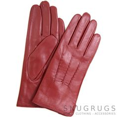 9195aed76ce5 Mavis Leather Gloves with Triple Twisted Three Point Stitch - Berry Red