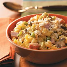Creamy Ham Pasta Casserole Recipe -Top a rich casserole with a little crunch, and you've got a dish the whole family will love! —Marion Little, Humboldt, Tennessee
