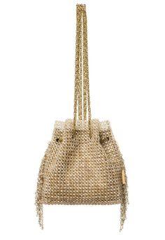 LAURA -  Bolsa em cristal com franjas em cristal, malha interna camurça e alça corrente. #Bolsa #Clutches