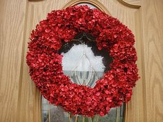 LOVE!    Red Hydrangea Wreath For Valentines Day by donnahubbard on Etsy, $55.00