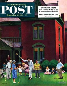 Croquet Game – John Falter The family tournament portrayed in John Falter's Croquet Game makes for a fitting post-Sunday dinner capper as the sunlight steadily trickles away.