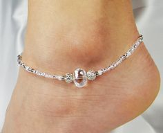 Anklet Ankle Bracelet Clear Luster Crystal by ABeadApartJewelry, $13.00