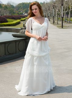 Empire V-neck Sweep Train Chiffon Wedding Dress With Ruffle Flower(s) Bow(s) (002024596) - JJsHouse