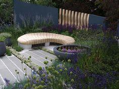 Rae wilkinson's hampton court healing urban garden under dec Hampton Court Flower Show, Rhs Hampton Court, Lawn And Landscape, Landscape Design, Garden Design, Garden Paving, Garden Landscaping, Garden Features, Garden Bridge