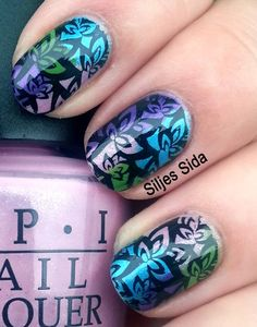 Multi colored manicure. Bundle monsters stamp BM-205, konads black stamping polish and OPI - Teal the cows come home, OPI - Green-wich village, OPI - Pedal faster suzi, OPI - Purple with a purpose in the bottom