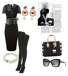 """""""Untitled #7"""" by anna-maria-majewwska on Polyvore featuring Marc Jacobs, Victoria Beckham, Maison Margiela, MCM, Versace, Dolce&Gabbana, Honora, women's clothing, women and female"""