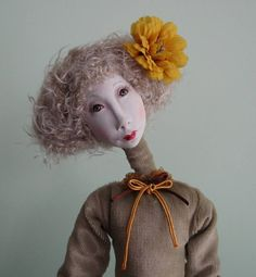 Vita Art doll OOAK  Paper clay doll Handmade art doll by JuraD, $160.00