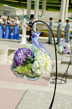 Hydrangea bunches adorn the aisle ~ Photography by luckyheartphotography.com, Floral Design by bokayindy.com