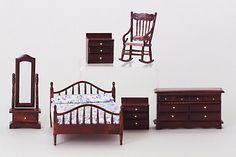 Master+Bedroom+Set,+Mahogany,+6Pc+AZT0007+[AZT0007]+-+$48.00+:+Miniature+Dollhouses+&+Doll+House+Supplies+|+Earth+&+Tree+Miniatures+&+Dollhouses