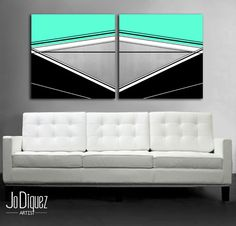 """Customizable! Original abstract painting. 24x50"""" #art #geometric by Jo Diquez"""